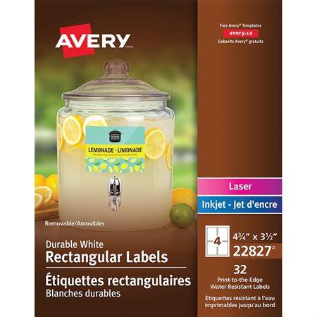 Étiquettes rectangulaires durables