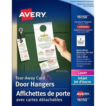 Affichette de porte avec cartes détachables