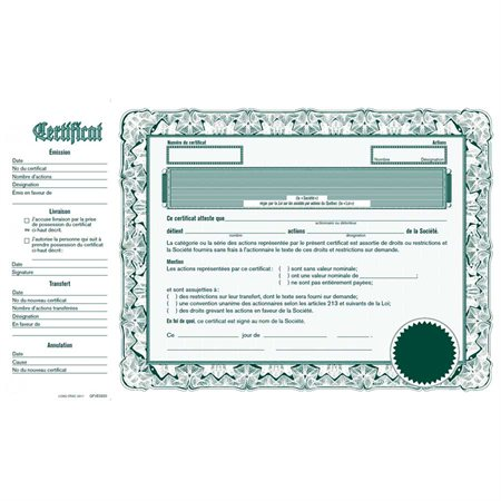 Share certificate