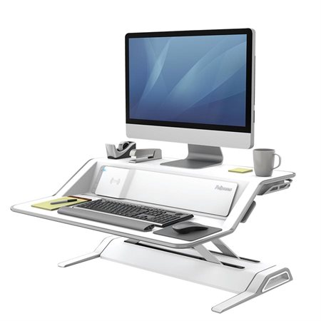 Lotus™ DX Convertible Sit Stand Workstation with Built-in Charging Station