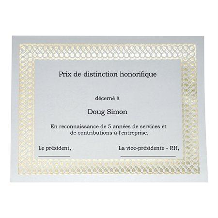 Certificats dorés métallisés St.James™ Elite